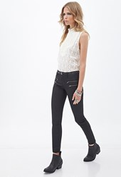 Forever 21 Mid Rise Zippered Skinny Jeans