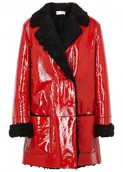 Christopher Kane Red Shearling Lined Patent Coat Black And Red