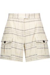 Msgm Metallic Checked Boucle Tweed Shorts Cream
