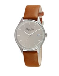 Kenneth Cole Stainless Steel And Leather Strap Watch 10029307 Brown
