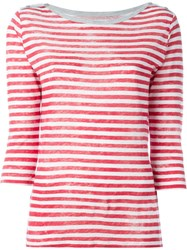 Majestic Filatures Boat Neck Striped Top Red