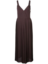 Vince Pleated Midi Dress Brown