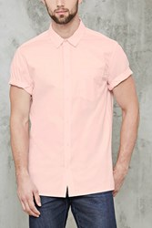 Forever 21 Slim Fit Pocket Shirt Pink