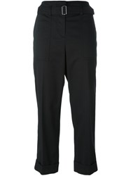 3.1 Phillip Lim Belted Cropped Trousers Black