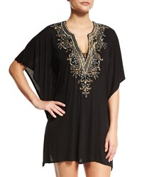 Luxe By Lisa Vogel Premier Embellished Front Coverup Tunic Onyx