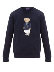 Ralph Lauren Purple Label Polo Bear Embroidered Cotton Blend Sweater Navy