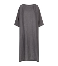 Eskandar A Line Linen Tunic Dress Grey