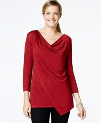 Ny Collection Three Quarter Sleeve Draped Top Scarlet Sage