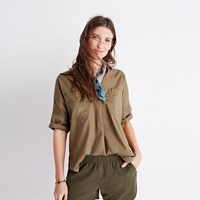 Madewell Courier Button Back Shirt In Light Latte