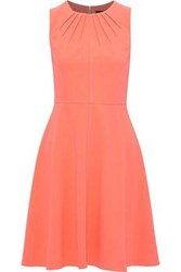 Donna Karan Woman Fluted Pleated Stretch Crepe Dress Coral