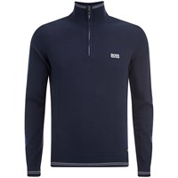 Hugo Boss Boss Green Men's Zime Zip Neck Knit Jumper Navy