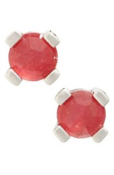 Stephen Dweck Women's Gemstone Stud Earrings Red Quartz Silver
