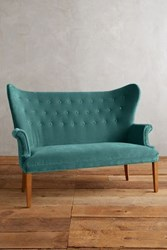 Anthropologie Velvet Wingback Bench Teal