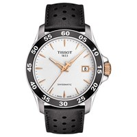 Tissot T1064072603100 Men's V8 Automatic Date Leather Strap Watch Black White