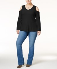 Styleandco. Style Co. Plus Size Cold Shoulder Sweater Only At Macy's Deep Black