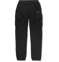 Off White Tapered Logo Print Loopback Cotton Jersey Cargo Sweatpants Black