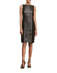 Lauren Ralph Lauren Leather Panel Sheath Dress Black