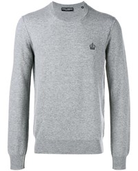 Dolce And Gabbana Crown Embroidered Cashmere Sweater Grey Blue