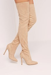 Missguided Pointed Toe Over The Knee Heeled Boots Nude