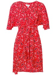 Jovonna Paisley Print Plunge Wrap Dress Red