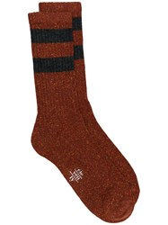 Eleventy Striped Pattern Socks Brown