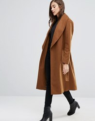 New Look Wrap Belted Midi Coat Light Brown