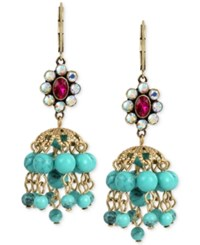 Betsey Johnson Gold Tone Faceted Stone Cluster And Blue Bead Chandelier Earrings