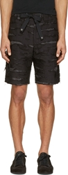 Miharayasuhiro Black And Grey Paisley Shorts