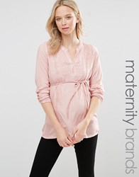 Mama Licious Mamalicious Maternity Pigment Blouse With Lace Detail Misty Rose Pink