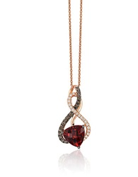 Levian Chocolatier Pomegranate Garnet Vanilla And Chocolate Diamonds And 14K Strawberry Gold Pendant Necklace Red
