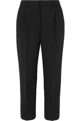 Prada Cropped Stretch Wool Straight Leg Pants Black