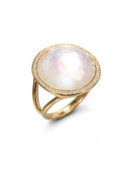 Ippolita Lollipop Mother Of Pearl Clear Quartz Diamond And 18K Yellow Gold Doublet Cocktail Ring Pearl Gold