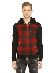 Balmain Biker Plaid Zip Up Cotton Sweatshirt