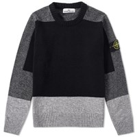 Stone Island Brushed Wool Panel Crew Knit Black