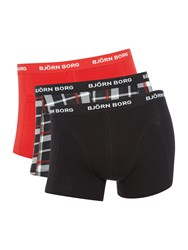 Bjorn Borg Men's 3 Pack Of Contrast Check And Plain Trunks Red