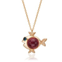 S H Koh Magical Fish Pendant Pink Tourmaline And Aquamarine Gold