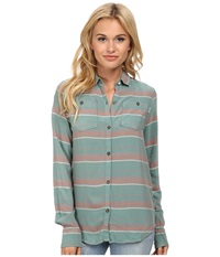 Burton Grace L S Woven Monument Laurel Stripe Women's Long Sleeve Button Up Blue