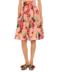 Dolce And Gabbana Floral Print Full Cotton Skirt Pink Pink Pattern