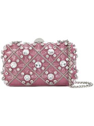Rodo Embellished Hardshell Clutch Pink And Purple