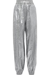 Msgm Woman Metallic Crinkled Shell Tapered Track Pants Silver
