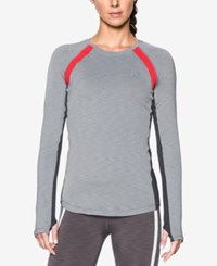 Under Armour Coldgear Long Sleeve Top True Grey Heather Pomegranate