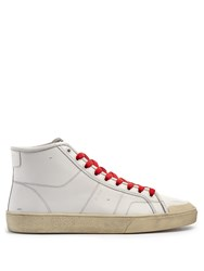 Saint Laurent Court Classic Mid Top Leather Trainers White Multi