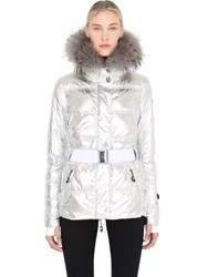 Jet Set Metallic Nylon Ski Jacket With Fur Trim