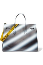 Off White Extra Large Printed Textured Leather Tote Black