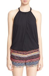 Women's Trina Turk 'Imma' Bubble Hem Halter Top Black