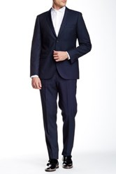Zanetti Navy Tic Weave Two Button Notch Lapel Slim Fit Wool Suit Blue