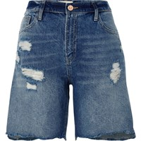 River Island Womens Dark Blue Distressed Denim Boyfriend Shorts