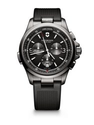 Victorinox Night Vision Stainless Steel Chronograph Strap Watch Black