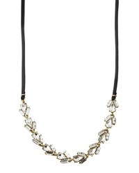 Lydell Nyc Leather And Crystal Wrap Choker Necklace