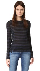 Frame Pintuck Linen Tee Navy And Noir Stripe